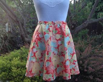 Bright Floral Novelty Circle Skirt Custom Pinup Womens skirt Cotton Elastic Full Flared Skirt