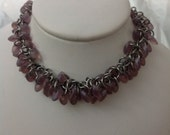 Matte Amethyst Purple Shaggy Loops Steel Chainmail Bracelet