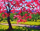 Spring Cherry Blossoms- Abstract, Huge Contemporary Acrylic on an Extra Large Genie Collapsible Canvas, Commissioned Painting by Patty Baker