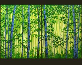 Utah Sunrise Trees - Manti La Sal, Commissioned painting by Patty Baker
