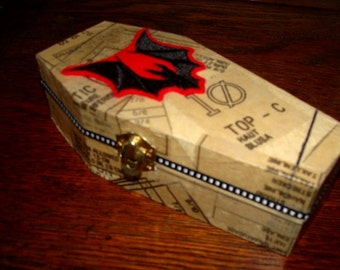 Coffin Trinket Box with Machine Embroidered Bat Accent - Decoupage Mixed Media