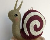Tiny Snail Plush or Ornament in Plum