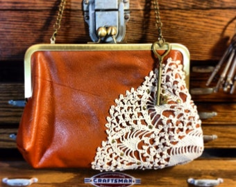 Special Order for Monica-Leather and Lace Antique lace Clutch