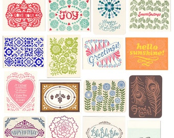 variety pack of five letterpress greeting cards, gift set, blank inside, assorted cards, note cards, block print, colorful, hand printed