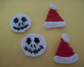 Crocheted Christmas Applique, Embellishment, Magnet, Pin or Earrings -  Jack Skellington or Santa Hat