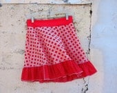 Diamond Dots  red womens skirt - Med or Large  Vintage 1960s Doubleknit fabric Texture Geometric polka dot ruffle upcycled clothing unique