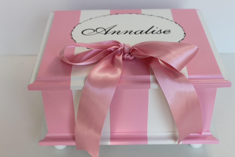 Baby keepsake box French stripe baby personalized pink &