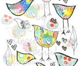 Birdie + Heart + Feather Love. Digital Download for art journaling, collage, mixed media, and scrapbooking.