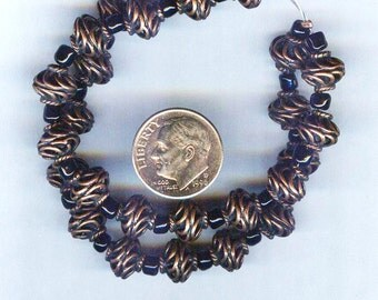 Unusual Spiral Coiled Copper Beads 8mm 6 Beads