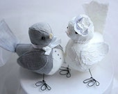 Wedding Love Birds cake topper - Love Birds cake topper  - Grey and Ivory - Wedding bird cake topper - Fabric Bird Cake Topper- CUSTOM ORDER