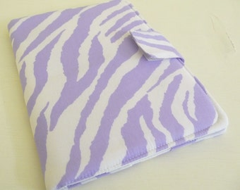 Zebra Print Nook HD and Nook HD Plus Cover Pale Purple and White