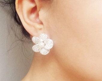 Pearl & Rhinestone Flower Stud Earrings, Vintage Inspired Wedding Bridal Jewelry, Crystal Stud Wedding Earrings, Petra