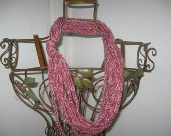Pink Fizz Crocheted Chain Scarf CLEARANCE