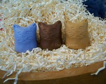 Olde Cat Votive Kitty Cat Silicone Soap Mold Candle Mold Original Design by Artist Debra Alouise Primitive Beeswax Ornament DIY Craft Molds