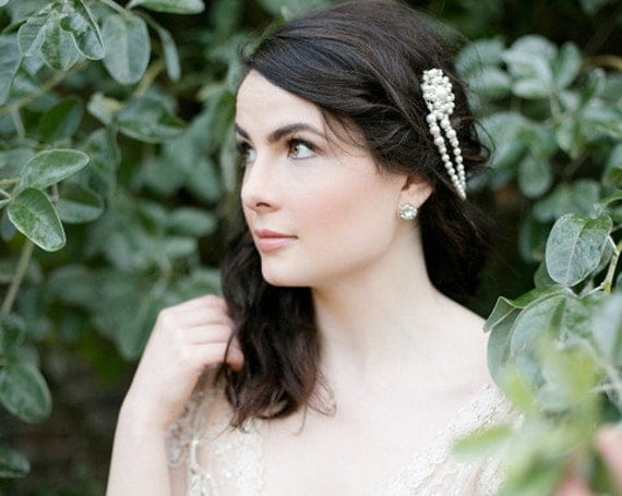Old World Charm, Vintage Style Headpiece With Draping Pearls , LUCY