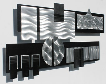 Black & Silver Modern Metal Wall Sculpture - Silver Contemporary Metal Wall Art - Home Decor - Wall Accent - Winter Storm II by Jon Allen