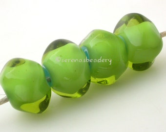 Glass Lampwork Beads -Bright Green over Blue - DRAGON TEARS Nuggets - Handmade Whiteheart - taneres