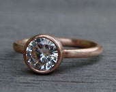 Moissanite Engagement Ring (1.25 carat, Forever Brilliant) - Recycled 14k Rose Gold, Made to Order - Eco-Friendly Diamond Alternative