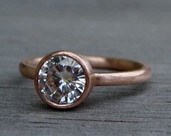 Moissanite Engagement Ring (1.25 carat, Forever One DEF) - Recycled 14k Rose Gold, Made to Order - Eco-Friendly Ethical Diamond Alternative