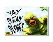 Monsters Dishwasher Clean Dirty magnet Flip Sign vintage hollywood horror movies Wife Gift