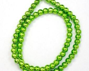 6mm Metallic Lime Green Bead (75 Pcs) #2326
