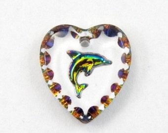 12mm Iridescent Dolphin Heart Pendant #2939