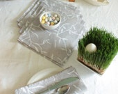 set of six hand printed, hand dyed mist gray dinner napkins