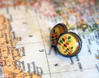 vintage autumn style framed post earrings- mustard leaf pattern