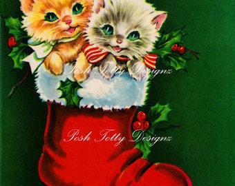 Kittens In A Stocking Vintage Greetings Card Digital Download Printable Image (417)