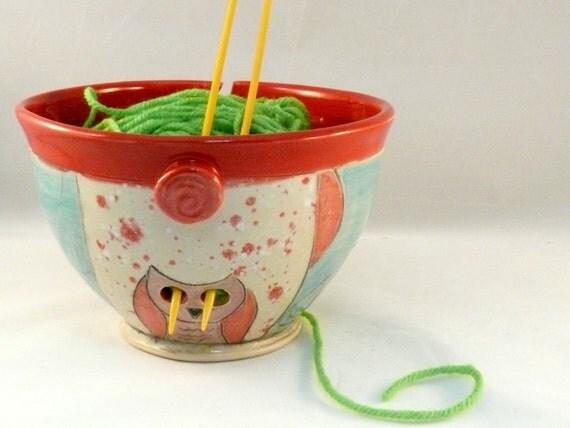 Knitting  Bowl  with Owl / Ceramic Yarn Bowl  YB61