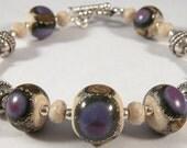 Purple Brown Ivory Lampwork, Sterling Silver Bracelet
