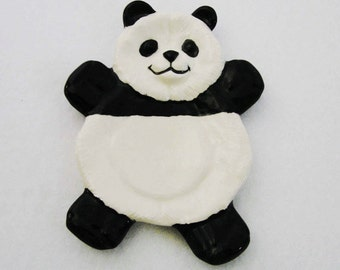 Ceramic Panda Bear Cat Tea Bag Holder Desk Accessory Small Spoon Rest in Black and White