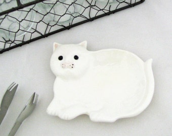 Ceramic Cat Tea Bag Holder Small Spoon Rest Catch All