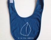 S is for Samosa Organic Baby Bib (Blue)