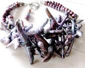 Luminous Peacock LUXE - Criss Cross Branch Pearls - Silver Purple - Multi Strand -  OOAK - Statement Necklace - catROCKS