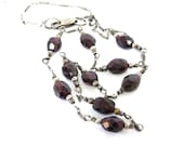 Garnet necklace Sterling Silver Faceted gemstone Chain necklace