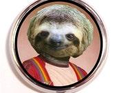 Sloth Yearbook Photo Nerd Pill box Pill Case Holder Pillbox Kitschy Hipster birth control case Vitamin organizer