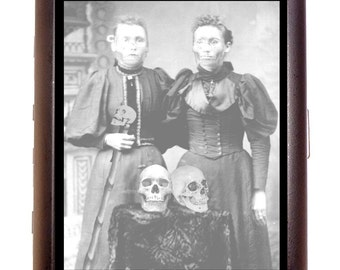 Victorian Zombie Women Occult Skulls Cigarette Case or ID or Business Card Case Wallet Cabinet Card Photograph