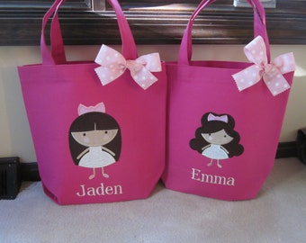 TOTE BAG Girly Girl Custom Designed and Personalized Toddler or Big Kid Tote