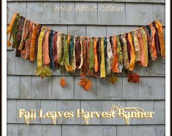 Fall Harvest FRiNGe BANNeR Newborn Baby Photo Prop HoME DeCoR Garland SHaBBY CHiC Fabric Rag Strip Autumn LeAVe Gold Green Rust WaLL HaNGiNG