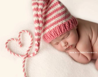 Newborn Baby Girl Knit Hat BaBY PHoTO PROP Long Tail Stocking Hat PiNK WHiTE Stripe BeANiE Coming Home PiXiE HaT Choose Color MuNCHKiN CaP