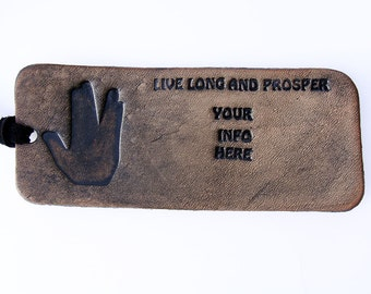 Personalized Luggage Tag Live Long and Prosper Leather
