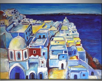 Huge Painting Blue and White SANTORINI GREECE - ORIGINAL Landscape Oil Painting on Large Canvas 48x36 by BenWill
