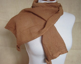 Hand Dyed Cutch Brown Cotton Rosette Scarf