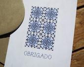 Thank You Card, Mosaic Talavera tile, Print, Blank Note Card, Blue Portuguese tile, Portuguese tile folk art, Stationary