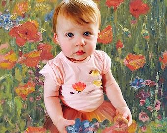 Custom Portrait of Children I Toddler Portrait I Child Portraits by NC