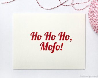 Christmas Cards. Set of 6 or 12. Ho Ho Ho Christmas Card Set. Funny Holiday Card. Holiday Card Set.
