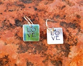 Hand Stamped Square Sterling LOVE Earrings