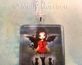 Child of Halloween - Cute Vampire and Cats Pendant Necklace - Handmade - Glass Tile - Fantasy Art by Molly Harrison