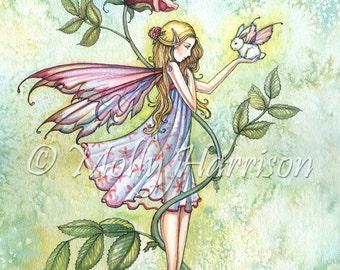 Rose's Friend - Fairy and Tiny Bunny Fantasy Art - Archival Print by Molly Harrison - 5 x 7